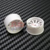 PN RACING, 410WR2 MINI-Z MACHINE CUT 10 SPOKE WHEEL REAR R2 WHITE
