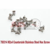 PN RACING, 700314 M2X4 COUNTERSINK STAINLESS HEX MACHINE SCREW