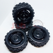 SUBRC, SBRC-T003 12MM HEX BLACK RIMS AND RUBBER TIRES FOR 1:10 RALLY