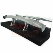 SIDELOGY, SDY-0059 SHINY CARBON PATTERN REAR SPOILER BLACK W/ STANDS TYPE H FOR 1/10 TOURING DRIFT