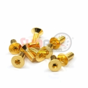 YEAH RACING, SHF-308GD 12.9 GRADE STEEL 24K GOLD COATED SCREW 3X8 HEX SOCKET BUTTON