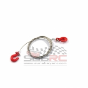 YEAH RACING, YA-0373 1/10 RC ROCK CRAWLER ACCESSORY STEEL WIRE ROPE WITH HOOK