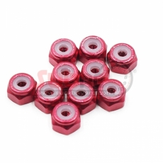 YEAH RACING, YA-0565RD 2MM ALUMINIUM LOCK NUT RED 10PCS
