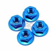 YOKOMO, ZC-NF4BL ALUMINIUM FLANGED NUT BLUE 4PCS