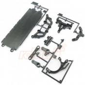 TAMIYA, 54446 CARBON REINFORCED STEERING ARMS $ BATTERY HATCH